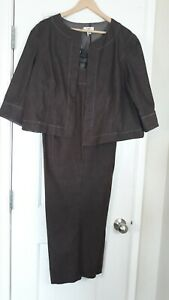 Cato-Woman-Brown-With-BeigeTrim-Women-039-s-Pant-Suit-18-20w-Open-Front-Jacket