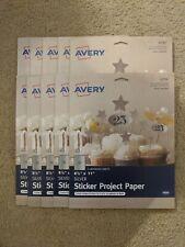 "Lot of 5 Avery 4394 Full-Sheet Sticker Project Paper Silver 8.5/"" x 11/"""