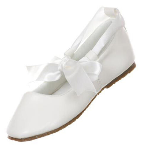 IVORY Flower Girl Shoes Ballerina Ballet Ribbon Tie Baptism Holy Communion Flats
