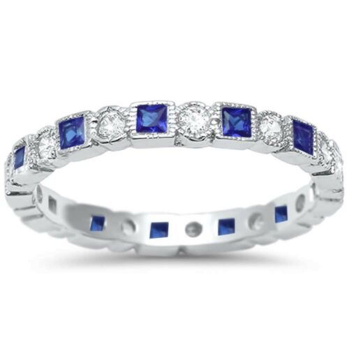 Antique Blue Sapphire /& CZ Stackable Eternity Band .925 Sterling Silver Ring