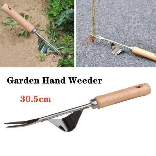 Stainless Steel W//Wood Weeder Hand Weeding Removal Cutter Dandelion Puller Tools