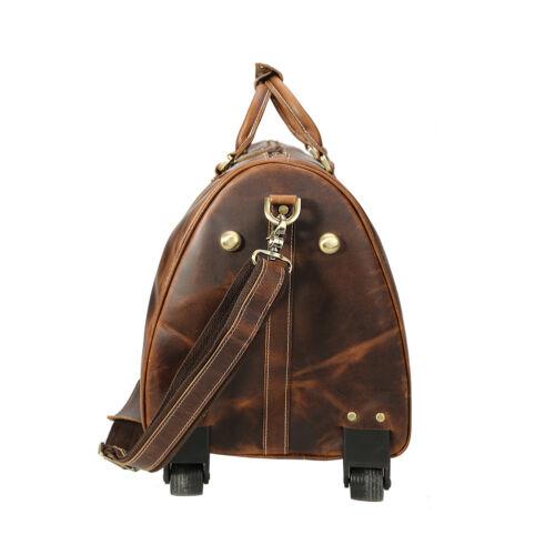 Mens Leather Rolling Wheeled Duffle Trolley Drawbar Bag Travel Luggage Case Tote