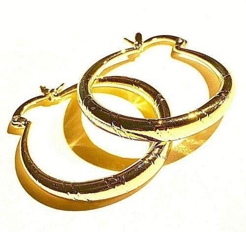 33mm x 30mm x 4mm 18ct GF Gold Hoop Earrings in FREE GIFT BOX Plum UK