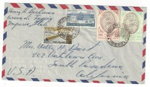 1957-Sanremo-Italy-Airmail-to-South-Pasadena-CA-Four-Stamps
