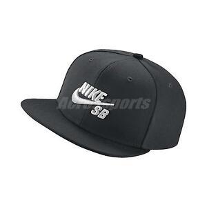 06f724fde2 Details about Nike Logo SB Icon Pro Cap Black White Adjustable Hat Snapback  Skateboarding