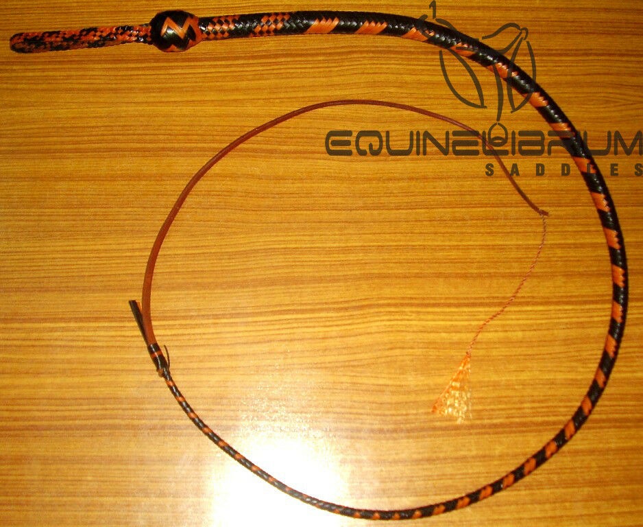 Equinelibrium's 3 Foot 12 Plait Leather  bullwhip, Snake whip, Self Defence whip