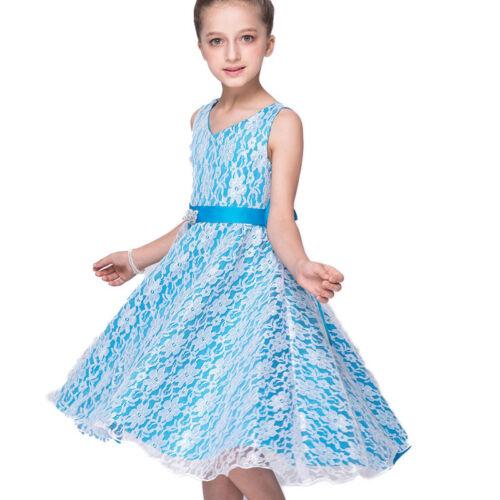 Flower Girls Princess Dress Baby Kids Party Bridesmaid Wedding Gown Dresses 2-13