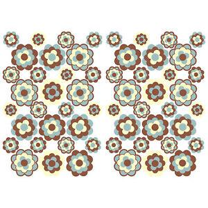 56-Stk-Blumen-Aufkleber-Braun-Beige-Glanz-Sticker-Selbstklebend-Retro-70er-R063