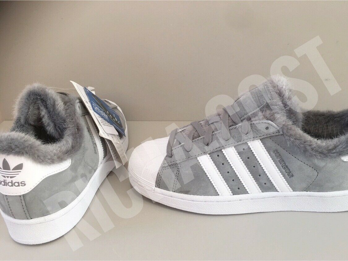 ADIDAS SUPERSTAR WOMEN'S DB2516 GREY  FUR BRUSHED LEATHER ALL SIZES NEW BOXED
