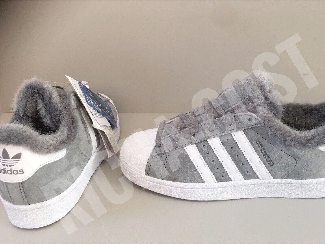 Adidas Superstar Para Mujeres DB2516 Piel de cuero cepillado Color gris Todas Las Tallas Nuevo en Caja