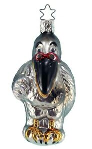 Inge Glas  Pelican  Professor 1-462-01 German Glass Christmas Ornament