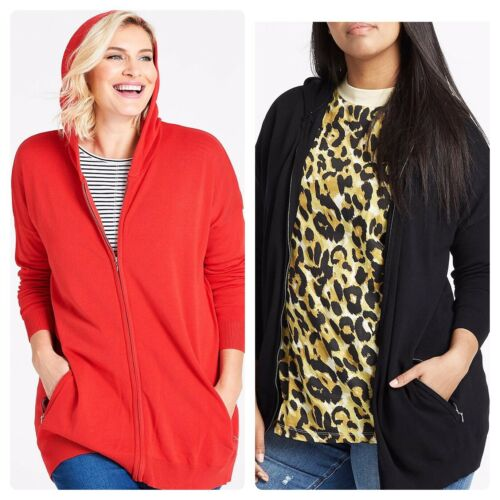 New Capsule Black or Red Hooded Sportive Cardigan with Pockets Sizes 16-34