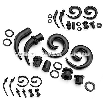 4 Pair Black Acrylic Spiral Taper Stretcher Ear Tunnels Plugs Expander Gauges