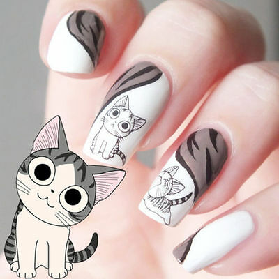 Nail Art Water Transfers Decals Sticker Happy Cute Cat Pattern 3D DIY Decoration