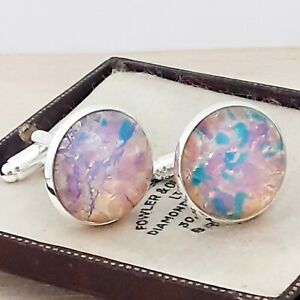 Vintage-Milky-Pink-Gold-Fire-Glass-Opal-20mm-Round-Silver-Plated-Cufflinks