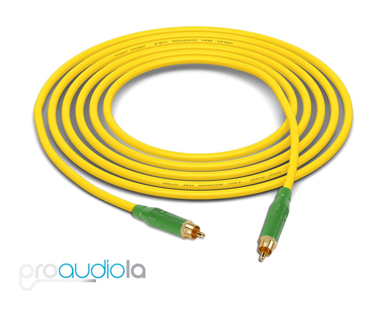 Cable de cuatro Mogami 2534     verde Amphenol Rca A Rca   Amarillo 40 pies 40 pies. 40' dba07f
