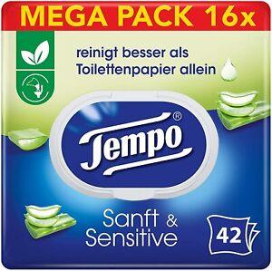 Tempo Papier Toilette humide Douceur et Sensitiv, 16 x 42 lingettes