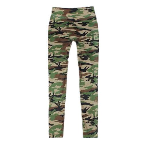 Leggins donna militare mimetici pantalone aderente taglia unica pantacollant