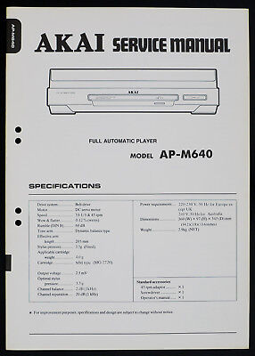 Akai Ap-m640 Original Full Automatic Turntable Service-manual/diagram O168