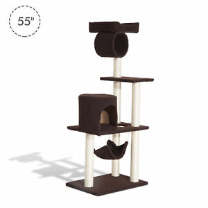 "55"" Scratching Cat Tree Pet Kitty House Furniture Condo Post Bed New"