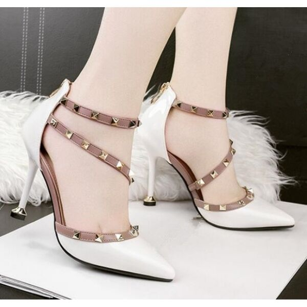 Sandale Pumps Frau 10 cm elegant Stilett weiß Stachel simil Leder CW648