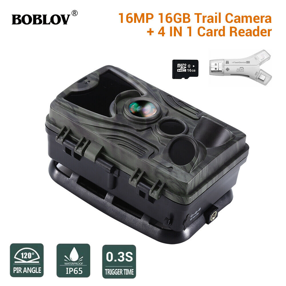 HC801A 16GB Trail Scouting Night Vision Camera Waterproof 16MP + SD Card Reader