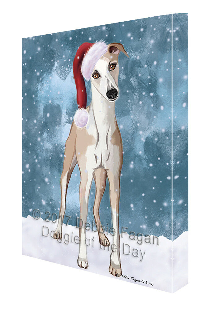 Let it Snow Christmas Holiday Whippet Dog Canvas Wall Art T83