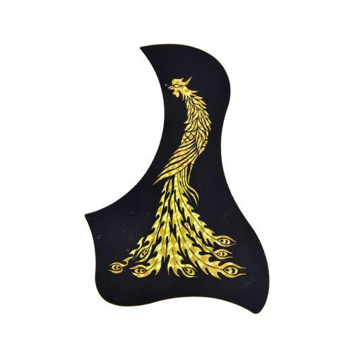 Guitar Pickguard Gold Sliver Phoenix// Dragon Pattern Acoustic Guitar Pick GuardZ