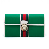 Women's Classic Two-tone Tri-fold Wallet W/ Buckle & Stripe Accent - Green/white