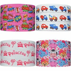 Printed-Cartoon-Grosgrain-Ribbon-22mm-7-8-034-Hair-Bow-Party-Cake-Dummy-Clips