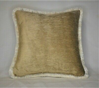 Solid brown chenille throw pillow with goldbrown brush fringe