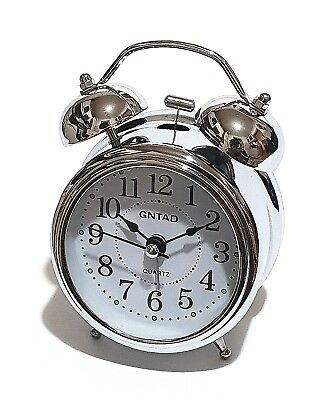 100% Kwaliteit Nostalgischer Mini Retro Glocken Licht Wecker Uhr Glockenwecker Quarzuhr Chrome Goede Reputatie Over De Hele Wereld