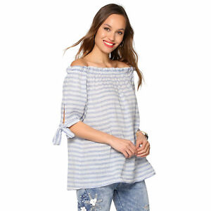 Blouse-rayee-manches-courtes-a-nouer-femme-001521
