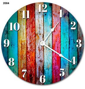 """RUSTIC BEACHY COLORED Wood Clock Large 10.5/"""" Wall Clock 2271"""