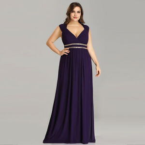 Details about Ever-Pretty Plus Size Bridesmaid Dresses Long Party Maxi  Dress Dark Purple 08697