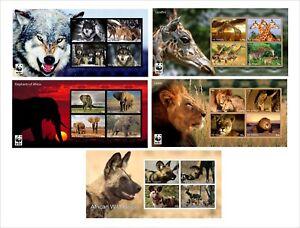 LIONS-ELEPHANTS-GIRAFFES-WOLFS-WILD-DOG-5-SOUVENIR-SHEETS-MNH-IMPERFORATED