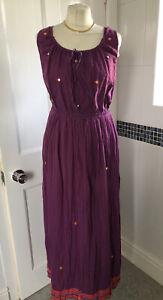 NWT Rene Derhy M 12/14 Purple Cotton Maxi Long Sleeveless Dress