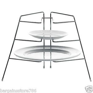 Image is loading NEW-3-TIER-CHROME-CORNER-PLATE-RACK-STACKER-  sc 1 st  eBay & NEW 3 TIER CHROME CORNER PLATE RACK STACKER STORER STORAGE STAND ...