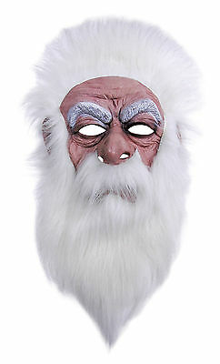 WIZARD MASK WITH PLUSH WHITE HAIR FANCY DRESS COSTUME ACCESSORY