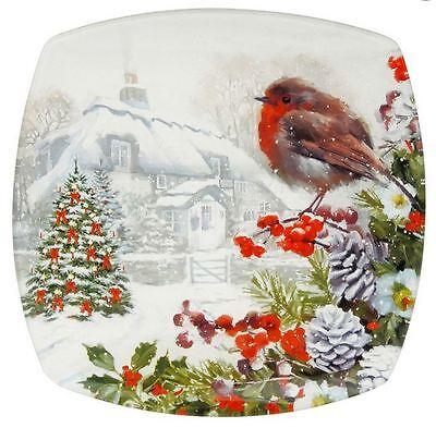 MACNEIL DECORATIVE SMALL PLATE ROBIN CHRISTMAS XMAS SCENE