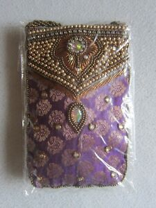 Tasche Bollywood exotisch klein gold messing lila * NEU