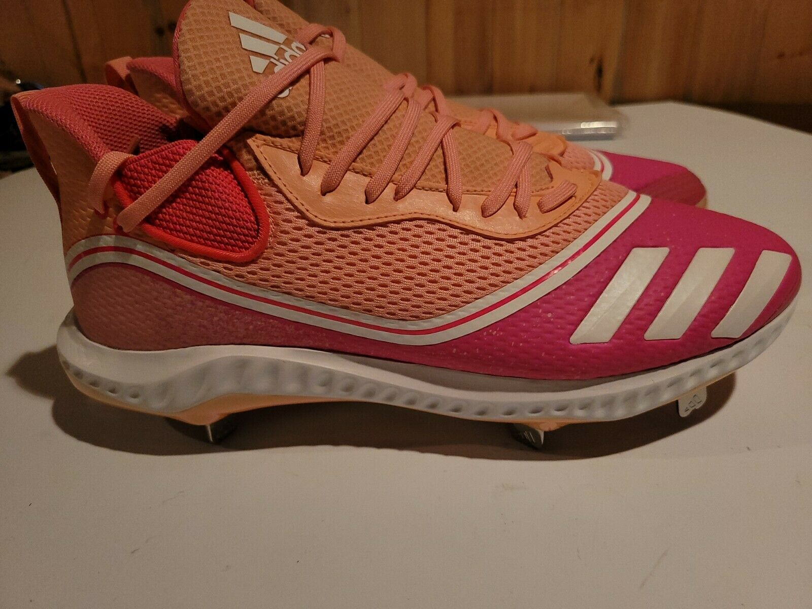NEW Sz 12.5 Adidas Icon V Boost Pink Mother's Day Metal Baseball Cleats FW5543