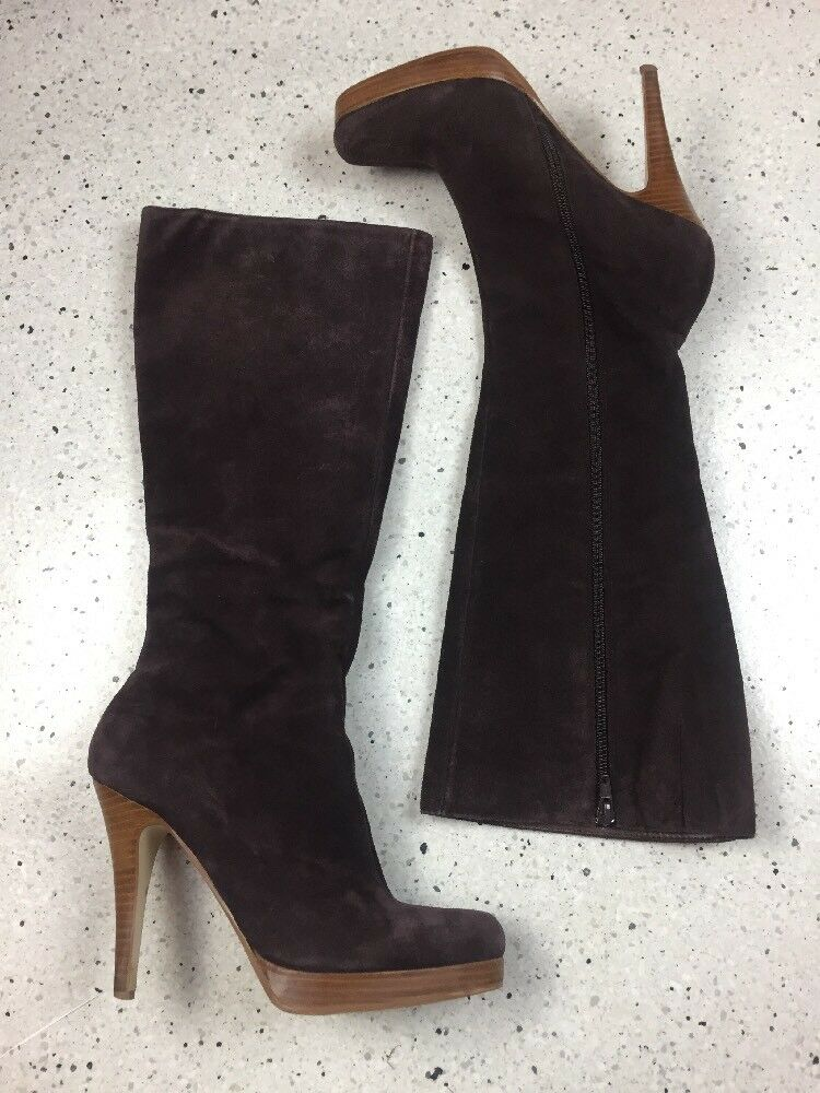 Bakers Lexi Brown Suede Heeled Boots, Size 8.5M, Excellent Used Condition