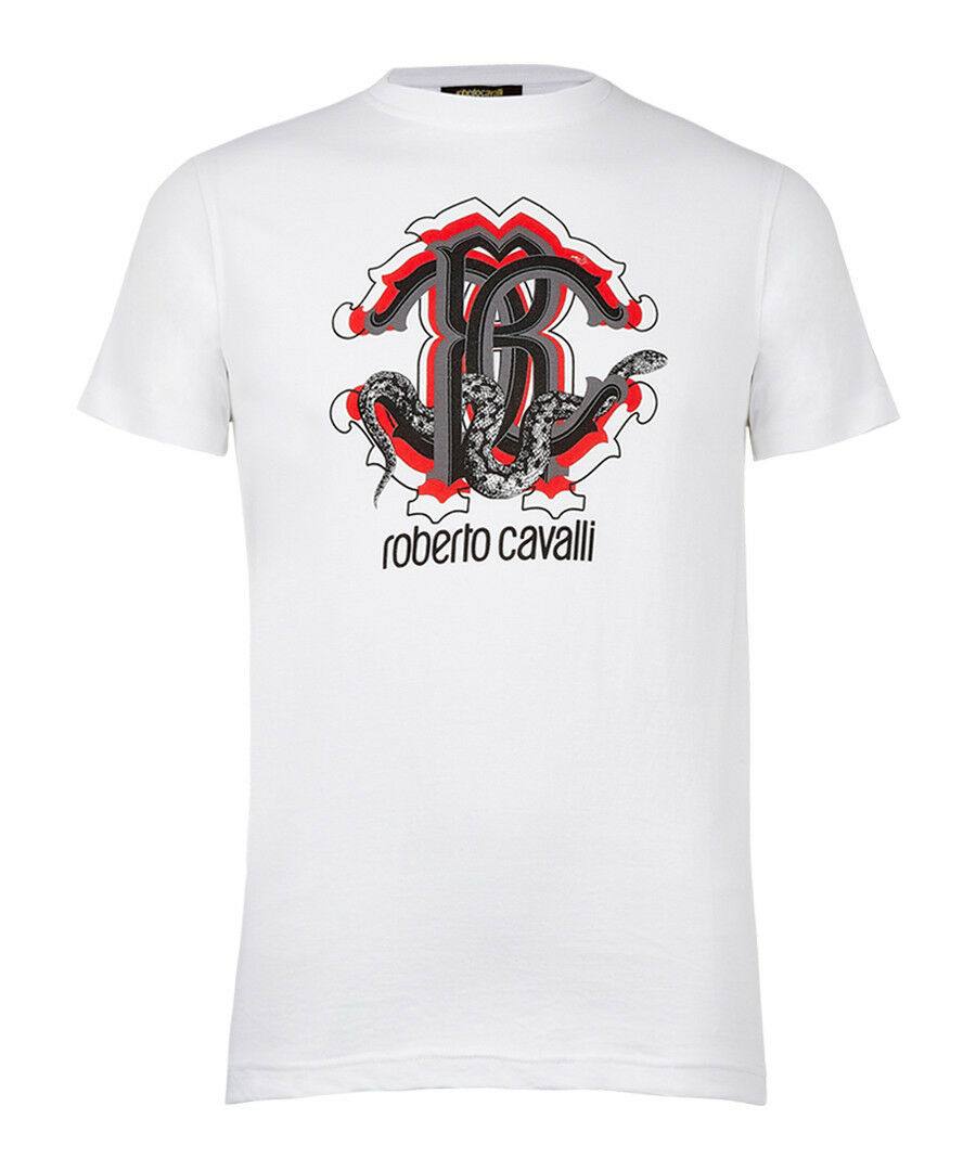 ROBERTO CAVALLI White pure cotton logo T-shirt size M RRP