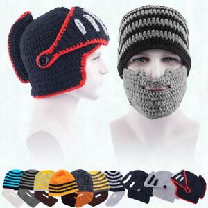 Beanie Hat With Detachable Beard Novelty Beard Hats Face Mask Winter ... 013f0a08d5a