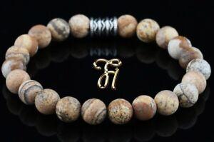 Landschafts-Jaspis-Armband-Bracelet-Perlenarmband-Buddha-8mm