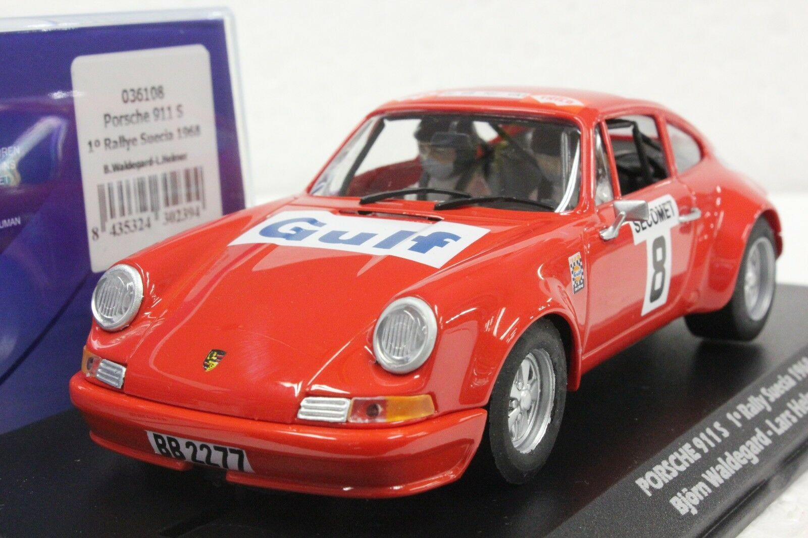 FLY 036108 PORSCHE 911 S 1ST PLACE RALLY SUECIA '68 NEW 1 32 SLOT CAR IN DISPLAY