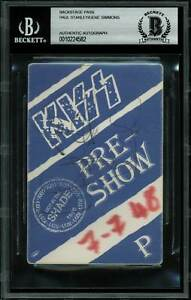 Gene-Simmons-amp-Paul-Stanley-KISS-Signed-1990-Tour-Backstage-Pass-BAS-Slabbed