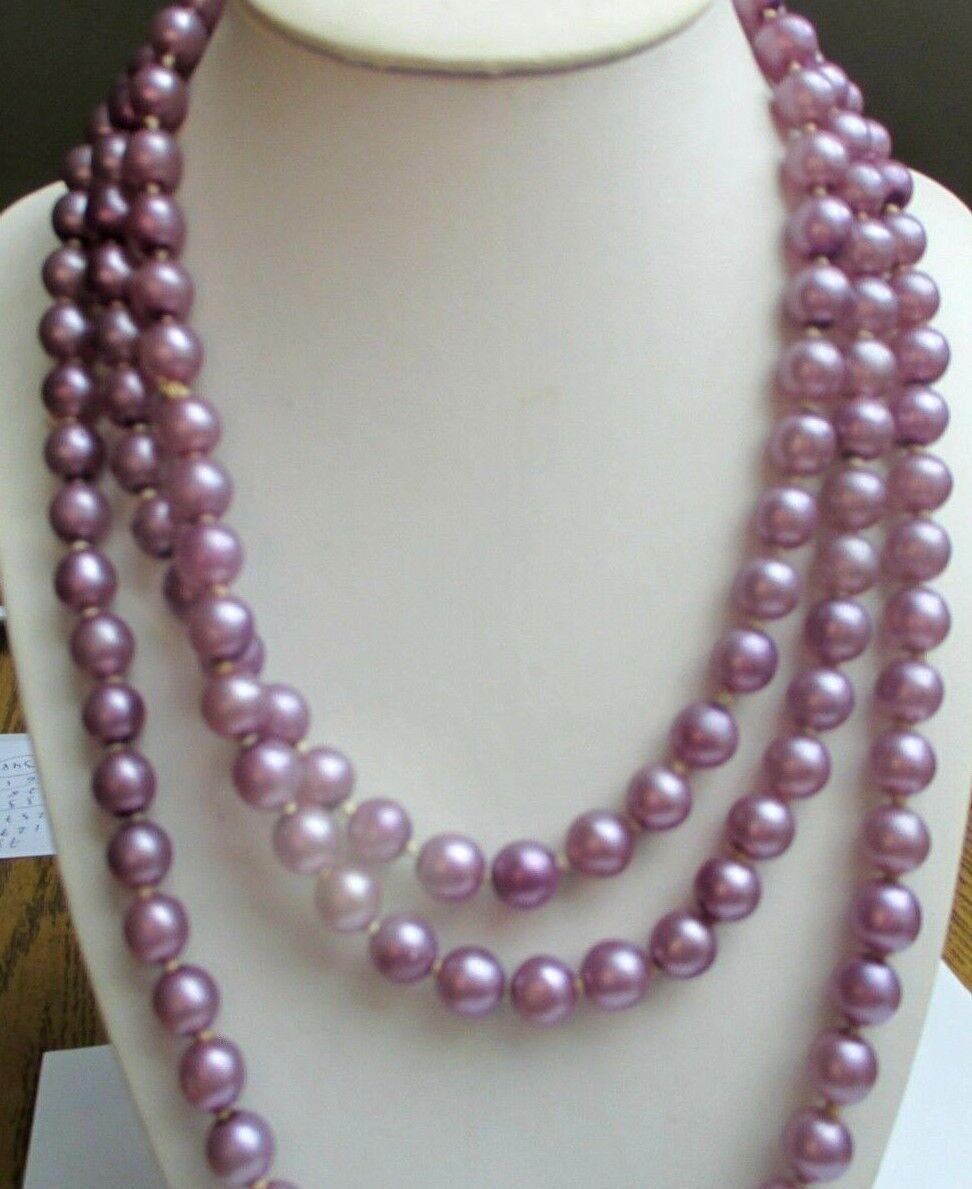 Maravilloso Grande Collar Largo Collar Cristal purple Nacarado Joya Vintage