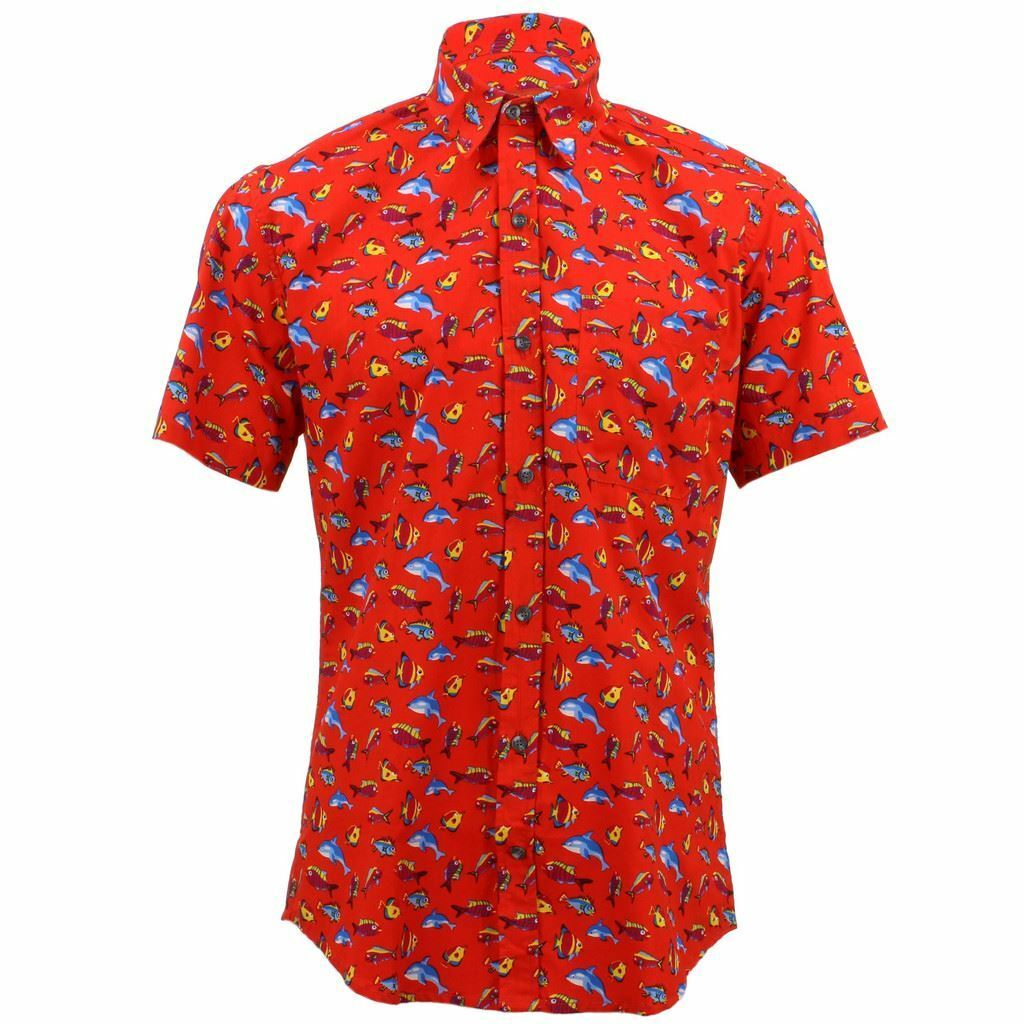 Mens Loud Shirt Retro Psychedelic Funky Party TAILORED FIT Red Fish